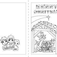 Chimney Stockings Christmas Card Stars And Creche Coloring Page