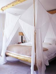 King Size Canopy Bed With Curtains by White Polished Wooden King Size Canopy Bed With 4 Poles And High