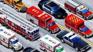 100 Funny Truck Names Emergency Vehicles Learning Vehicles And Sounds Police Car