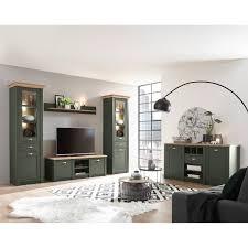landhaus wohnwand sideboard set in grün mit wotan eiche cincinnati 61 mit beleuchtung b h t 328 207 45cm