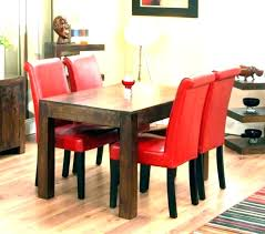 Red Dining Room Set Leather Chairs Contemporary Sets Cherry Cont