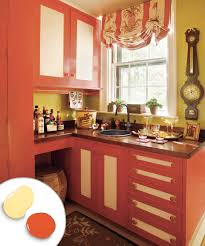 Kitchen Cabinet Color Combos That Really Cook This Old House With Orange Red Painted Cabinets Light Home Decor