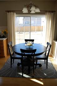 Amazing Grey Motif Rugs Under Dining Tables Set With Pandent Lamp For Room Design