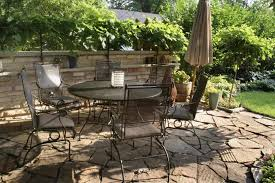 Dining Room Attractive Natural Stone Patio Dining Area With