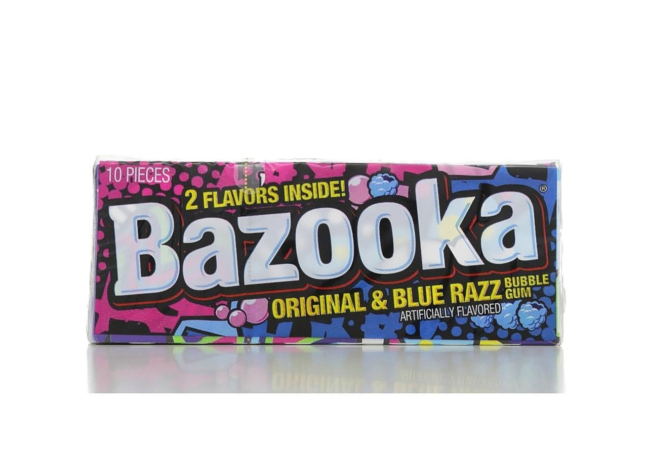 Bazooka Bubble Gum - Original, Blue Razz