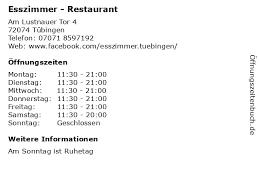 ᐅ öffnungszeiten esszimmer restaurant am lustnauer