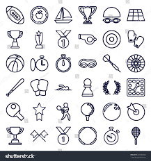 Competition Icons Set Of 36 Outline Such As Trophy Board Game