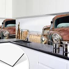 alu dibond silber küchenrückwand rusted cars