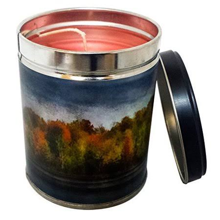 Our Own Candle Company Cinnamon Scented Candle in 13 Ounce Tin with A Fall Panorama Scene Label
