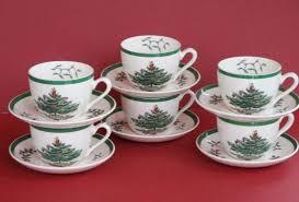 Spode Christmas Tree Green Trim 6 CUP SAUCER Sets England Backstamp 12Pcs B
