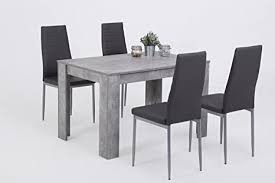 5 tlg essgruppe holzwerkstoff betonoptik stuhl kunstleder grau 120x80x76 cm