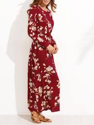 flower print button front full length dress shein sheinside