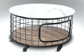 Black Metal Patio Coffee Table Concrete Outdoor Side Tables