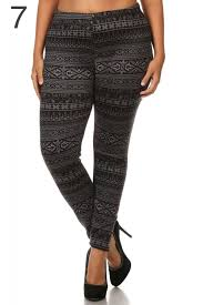 plus size fur lined print leggings warm winter stretchy pants