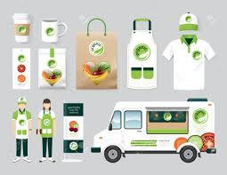 100 Healthy Food Truck Vector Organic Restaurant Design Set Street Health