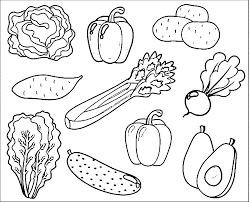 Pin Fruits Vegetables Clipart Coloring Page 2