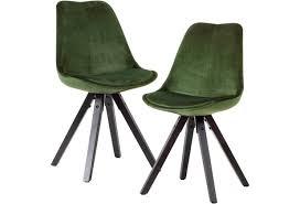 wohnling weiches esszimmerstuhl 2er set ohne armlehnen in grün schwarze holzbeine gepolstert 110 kg