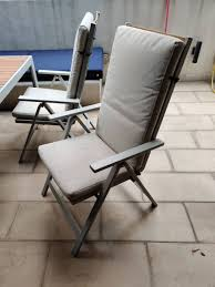 2 Outdoor Foldable Reclining Chairs With Cushions