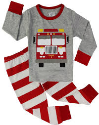 PHOEBE CAT Fire Truck Pajamas For Boys Sleepwear Clothes Toddler 2 ...