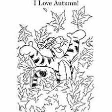 Cartoon Tigger Loves Autumn Season CB Halloween During Fall Seasom Coloring Page