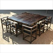 Rustic Square Dining Table Modern Solid Wood Pedestal 8 Chairs For 4