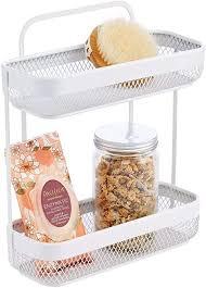mdesign praktisches badregal schmal kleine badablage mit 2 körben fürs badezimmer elegantes badezimmer regal aus rostbeständigem metall für