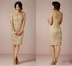 2016 new elegant gold lace sheath mother of bride knee length