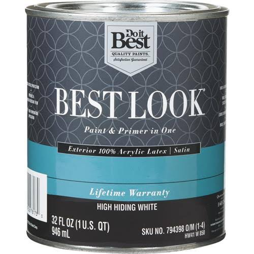 - HW41W0850-14 Best Look 100% Acrylic Latex Paint & Primer in One Satin Exterior House Paint