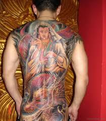 Colored Buddha Tattoo On Back