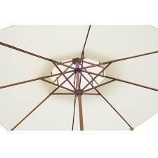 100 Wooden Parasol Outsunny Canopy With Handle In Cream On OnBuy