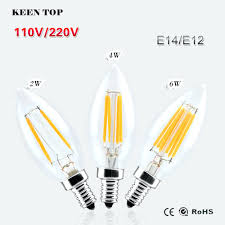 chandeliers ac110v 220v dimmable e12 e14 led filament bulb