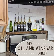 Over The Big Moon DIY Oil And Vinegar Shelf With Pipe Thing On Top Of Mouth Bottle