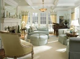Cottage Style Living Room Of French Country Green Furniture Bright Carpet Piano