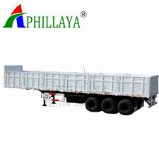 100 Semi Truck Trailers Hot Item 3 Axle Container Flatbed 50ton Side Wall 05