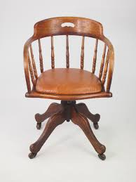 Edwardian Oak Swivel Desk Chair With Leather Seat - LA56954 ...