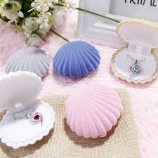 Creative Shell Shape Velvet Earrings Necklace Jewelry Display