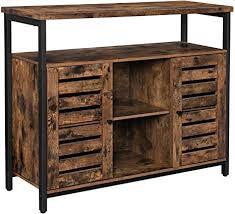 vasagle sideboard beistellschrank küchenschrank mit offenen regalfächern flurschrank kommode mit lamellentüren wohnzimmer esszimmer büro flur