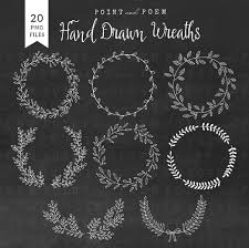 Wreath Clip Art Hand Drawn Chalkboard Laurel Clipart Wedding Rusticfloral Elements Leaves