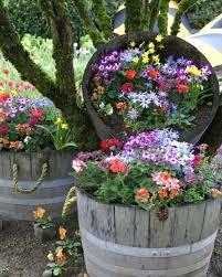 Rustic Garden Planters Wine Barrel Flower Cheap