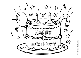 Cake Happy Birthday Party Coloring Pages Celebration For Kids