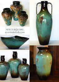 Tuscan Old World Vases In Turquoise Blue Perfect For Decorating