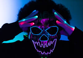 Purge Mask Halloween by Halloween Light Up Led Mask El Wire Mask Led Gloves Neon