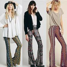 2015 Newly Hot Sale Boho Pants Bell Bottom Trousers Paisley Print Stretch Flare Hippie Style