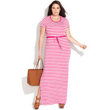 michael kors plus size short sleeve striped maxi dress in white lyst