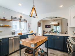 white kitchen navy shaker cabinets accents blue rustic charm