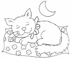 Cat Sleeping At Night Coloring Page