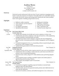 Security Supervisor Resume Example