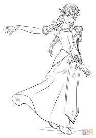Princess Zelda Lovely Coloring Pages