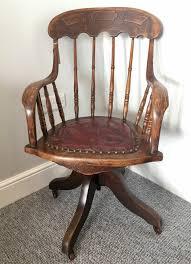 Antique Edwardian Oak Swivel Office Desk Chair   496953 ...