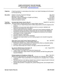 Sample Secondary Teacher Resume Exampleresumecvorgsample